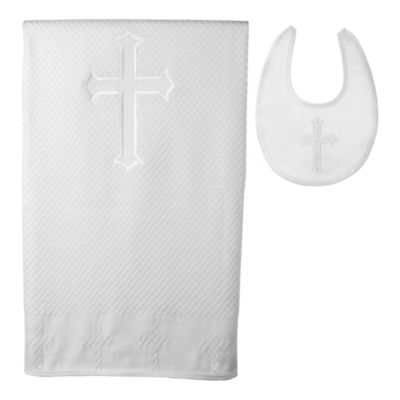 Keepsake® Christening Blanket and Bib Set - Boys One Size