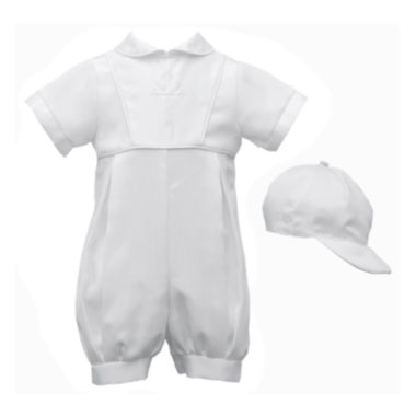 Keepsake® Christening Romper and Cap Set - Boys newborn-12m