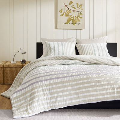 INK+IVY Sutton White Striped Duvet Cover Set