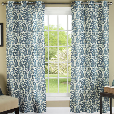 Ikat Plume 2-Pack Grommet-Top Curtain Panels