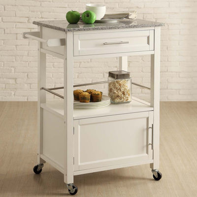 Brantley Granite Top Rolling Kitchen Cart With Towel Rack