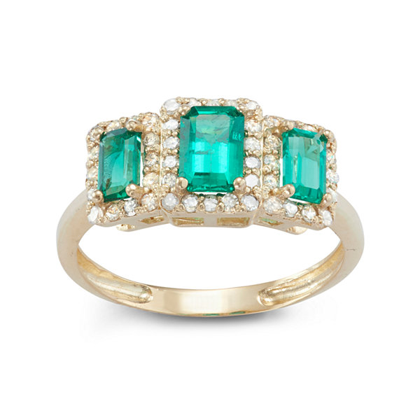 Lab Created Emerald And 1/3 C.T. T.W. Diamond 10K Yellow Gold Ring