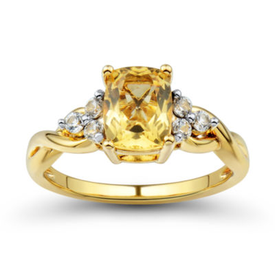 Womens Orange Citrine Gold Over Silver Cocktail Ring
