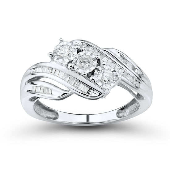 Love Lives Forever 1/2 CT. T.W. Round White Genuine Diamond 10K Gold 3-Stone Ring