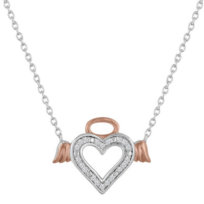 Womens Diamond Accent Genuine White Diamond 14K Gold Over Silver Heart Pendant Necklace