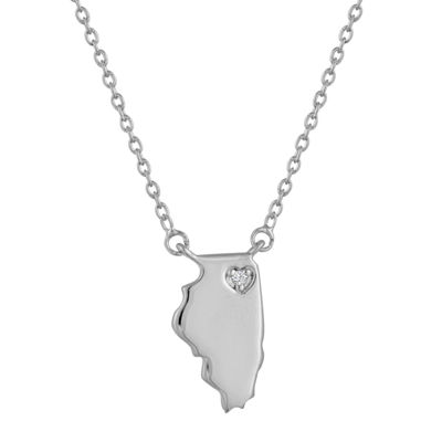 Diamond Accent Sterling Silver Illinois Pendant Necklace