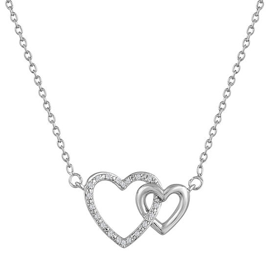 Womens Diamond Accent Genuine White Diamond Heart Pendant Necklace