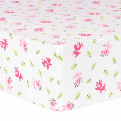 Trend Lab Pink Reindeer Flannel  Crib Sheet