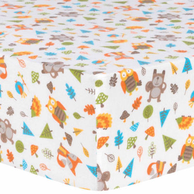 Trend Lab  Woodsy Animals Flannel Crib Sheet