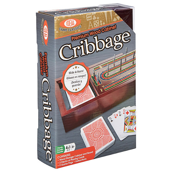 Ideal Premium Wood Cabinet Cribbage Board Game