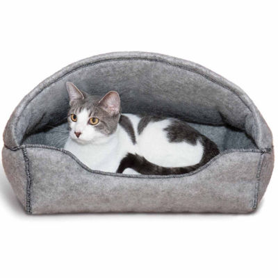 "K & H Manufacturing Amazin' Kitty Hooded Lounger Pet Bed - 13"" x 17"", Gray"