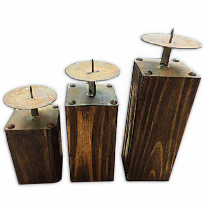 Table Top Candle Holders With Rustic Wood Base- Set of 3