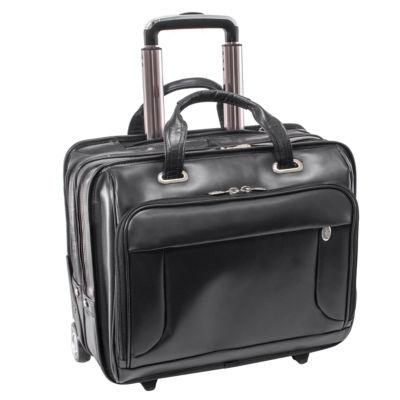 """McKleinUSA Greenwich 15.6"""" Leather Wheeled Laptop Briefcase"""
