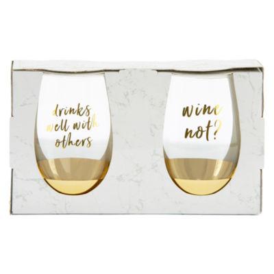 Mixit 2-pc Stemless Wine Glass Set