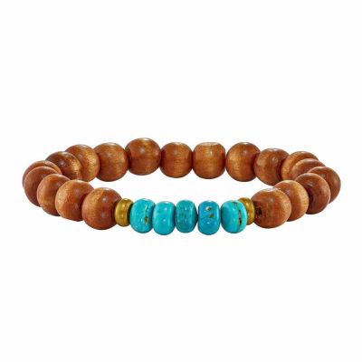 Blue Turquoise Brass Beaded Bracelet