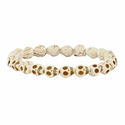 Mens White Beaded Bracelet
