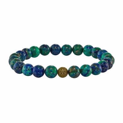 Mens Multi Color Agate Brass Beaded Bracelet