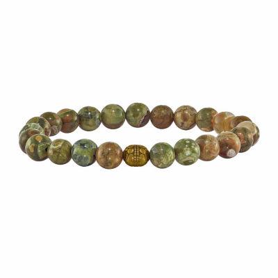 Green Agate Brass Beaded Bracelet