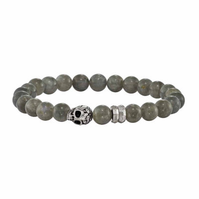 Mens Gray Stone Brass Beaded Bracelet