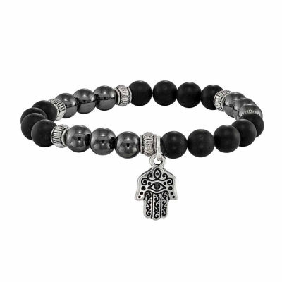 Black Stone Brass Beaded Bracelet