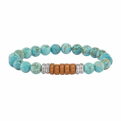 Mens Blue Turquoise Brass Beaded Bracelet