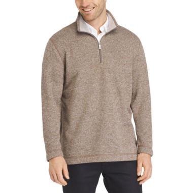 Van Heusen Sweater Fleece Qtr Zip Long Sleeve Pullover Sweater