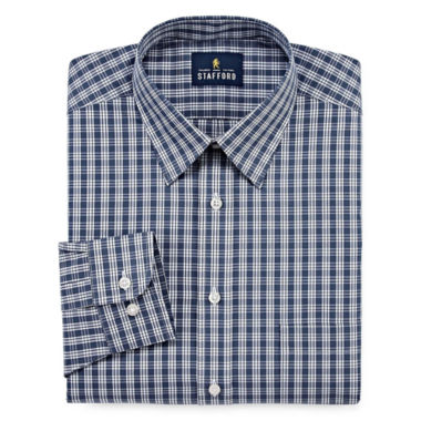 Stafford® Travel Performance Super Shirt Long Sleeve Broadcloth Plaid Dress Shirt