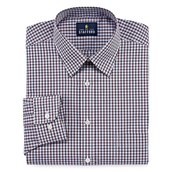 Stafford Travel Performance Super Shirt Long Sleeve Broadcloth Gingham Dress Shirt