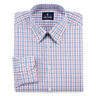 Stafford Travel Performance Super Shirt Long Sleeve Broadcloth Plaid Dress Shirt
