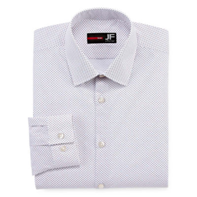 JF J.Ferrar Stretch Long Sleeve Broadcloth Diamond Dress Shirt