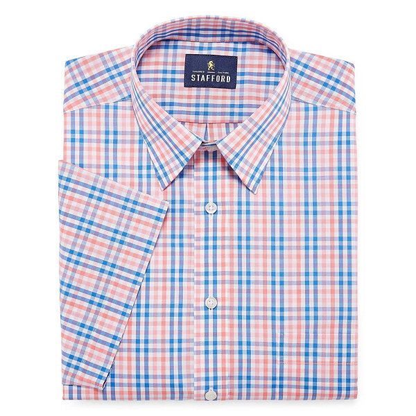 Stafford travel easy care short sleeve broadcloth checked for Stafford big and tall shirts