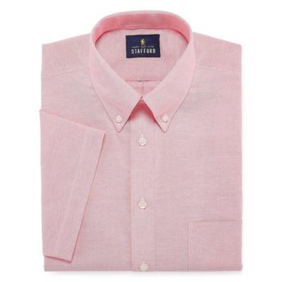 Stafford Travel Wrinkle-Free Oxford Short Sleeve Oxford Dress Shirt
