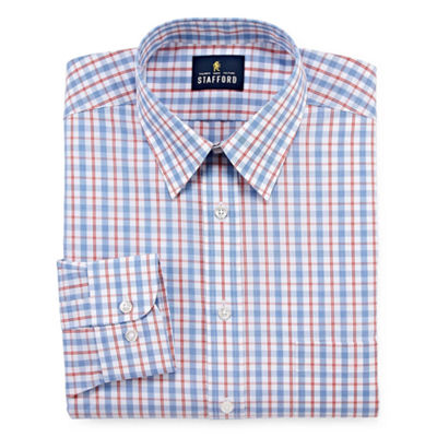 Stafford Travel Performance Super Shirt - Big & Tall Long Sleeve Broadcloth Plaid Dress Shirt