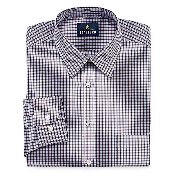 Stafford Travel Performance Super Shirt - Big & Tall Long Sleeve Broadcloth Gingham Dress Shirt