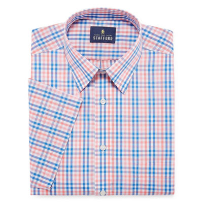 Stafford Travel Easy-Care Broadcloth Short Sleeve Checked Dress Shirt