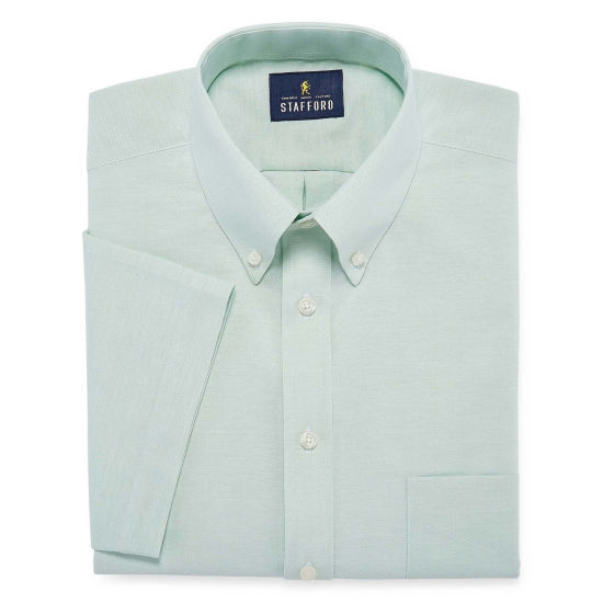 Stafford Travel Wrinkle-Free Oxford Short Sleeve Oxford Dress Shirt