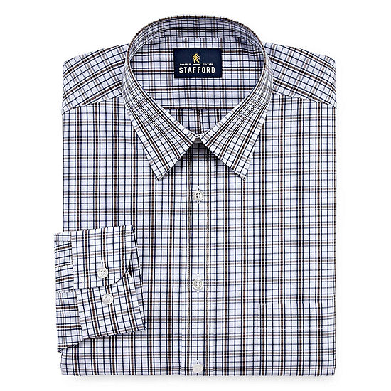 Stafford Travel Performance Super Shirt - Big & Tall Mens Point Collar Long Sleeve Wrinkle Free Dress Shirt