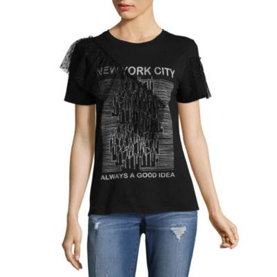 Arizona Ruffle Graphic T-Shirt- Juniors