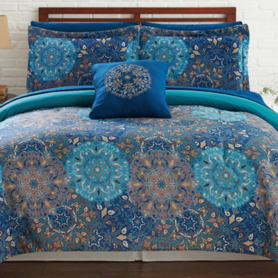 Pacific Coast Textiles Complete Bed Set 8-pc. Geometric Reversible Complete Bedding Set with Sheets