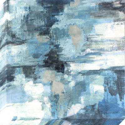 Decor Therapy Indigo Abstract Stretched Canvas with Palette Texture