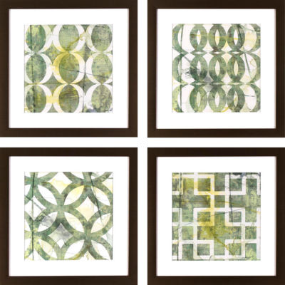 Decor Therapy Green Lattice Patterns in Golden Bronze Frame - Set of 4