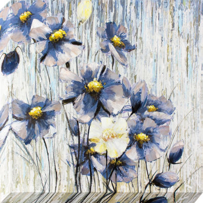 Decor Therapy Periwinkle Flowers Oil Painted Canvas