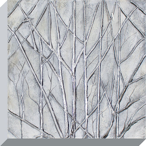 Decor Therapy Metallic Trees Oil Painted Canvas