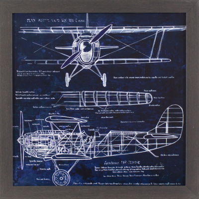 Decor Therapy Aero plane Blueprint in Black and Gold Wood Grain Frame