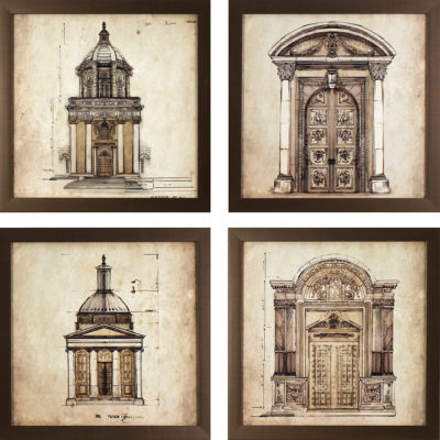 Decor Therapy Set of 4 European Architectural Prints in Golden Bronze Finish Frame