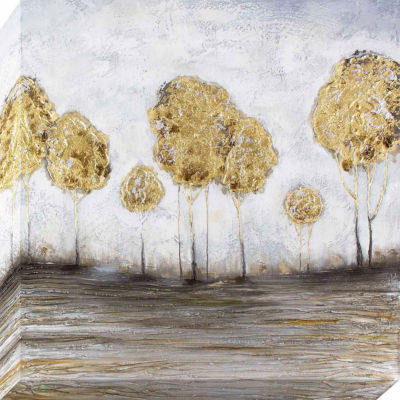 Decor Therapy Golden Trees Metallic Oil Painted Canvas