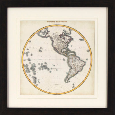 Decor Therapy Western Hemisphere Map in Black and Gold Wood Grain Frame