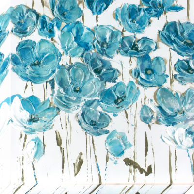 Decor Therapy Dusty Blue Poppies Stretched Canvas