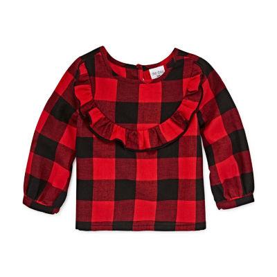 Okie Dokie Round Neck Long Sleeve Blouse - Toddler Girls