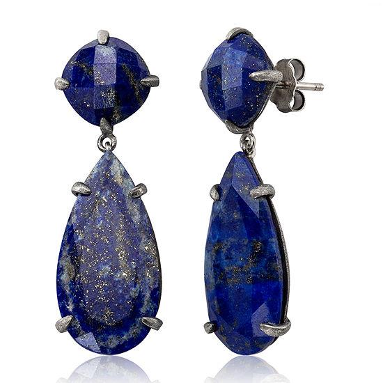 Simulated Blue Sterling Silver Drop Earrings